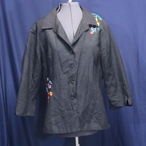 Silkland Black Jacket with Floral Embroidery XL